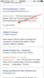 Seattle Shoes Organic Mobile Results