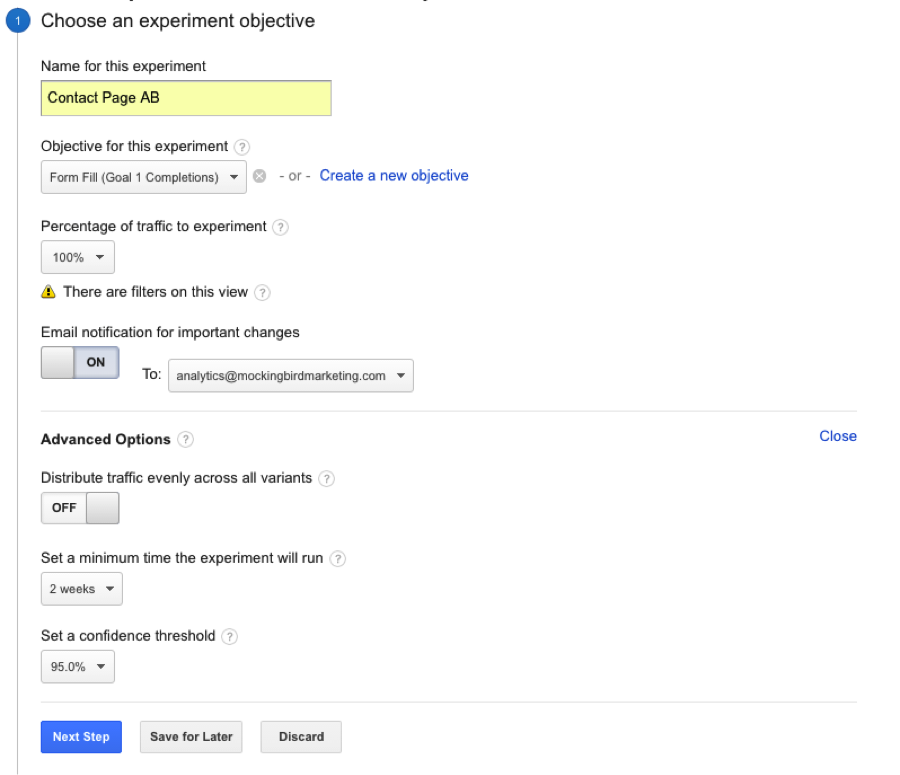 Contact Page Google Analytics Experiment