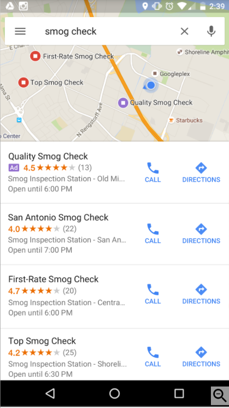 Local Search Ad in Google Maps