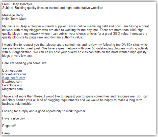 link building spam email