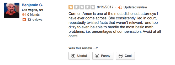 1-star Yelp review from a non-client