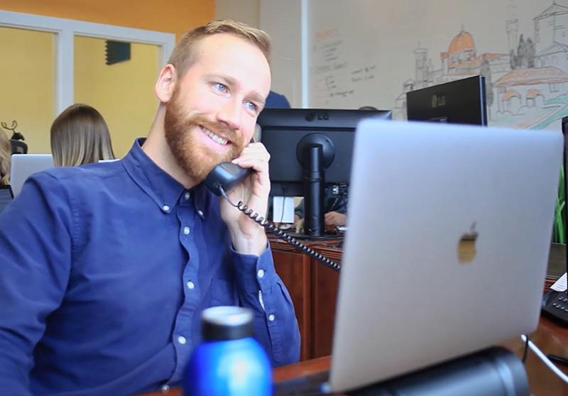 Mockingbird Marketing Transparency Ben on Phone