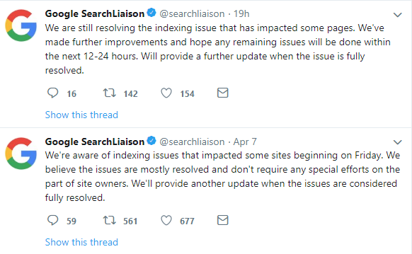 google search liaison indexing issue tweets