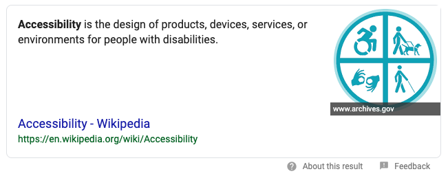 Google search result for Accessibility